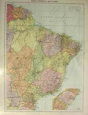 1934 LARGE MAP ~ SOUTH AMERICA ~ NORTH-EAST ~ BRAZIL