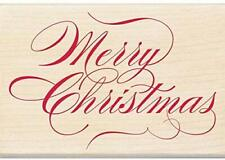 Inkadinkado Merry Christmas Wood Rubber Stamp Script