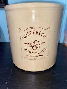 Vintage Large Roseville RRP Co. Pottery Crock Rose Fresh Marmalade Ohio