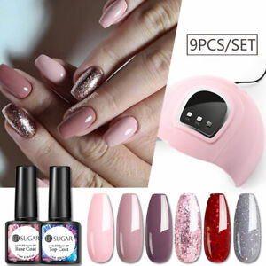 9pcs/set UR SUGAR Gel Nail Polish Starter Kit Decors Tool UV LED Lamp Base Top
