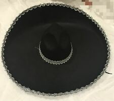 ADULT MENS WOMENS MEXICAN COSTUME SOMBRERO HAT BLACK SILVER TRIM PARTY DRESS