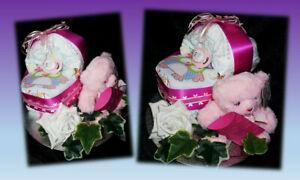 Windeltorte Windelwagen Baby Geschenk Geburt Taufe Geldgeschenk Mädchen Teddy