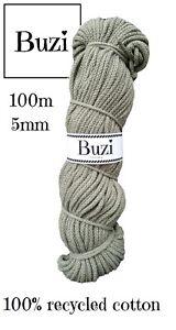 Macramé Cord String 100% Natural Recycled Soft Cotton Yarn 5mm MOSS GREEN 100m
