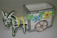 "Made in Japan Art POTTERY Ceramic Planter Donkey pulling Wagon Cart 9""`long"