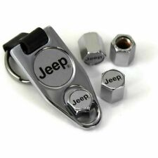 Elite Automotive Key Chain and Chrome ABS Tire Valve Caps for Jeep Silver