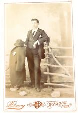 .c1890s QUALITY LARGE STUDIO PHOTO by O. H. PERRY, WYMORE NEBRASKA. YOUNG MAN.