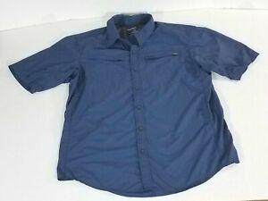 Eddie Bauer Sport Short Sleeve Nylon Fishing Guide Shirt Zip Pockets Men LT Blue