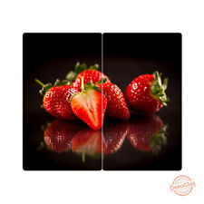 Herdabdeckplatten m. Noppen 2er-Set Schneidebrett Erdbeeren