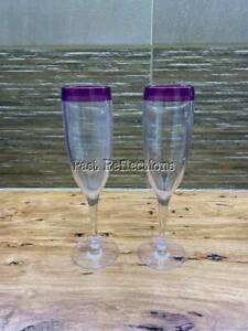 TUPPERWARE ILLUSIONS SHEERLY ELEGANT ALEGRA WINE FLUTE GLASS SET/2 PURPLE