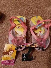 (2B3)  Toddler Girls Disney Princess pink flip flops sz 5/6 Belle Beauty Beast