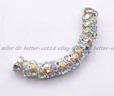 50/100Pcs Silver Plated Wavy Crystal Spacer Rondelle Beads Charm Finding 6MM 8MM