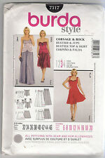 Burda Sewing Patterns 7317, Bustier Top and Skirt, Size 6 - 20, Uncut