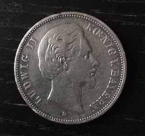 1x German Empire Coin Ludwig II Kœnig V. Bayern Deutsches Reich 1875 D Fünf Mark