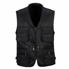 Mens Casual Jacket Tool Vest Sleeveless Multi Pockets Waistcoats Work Wear Tops