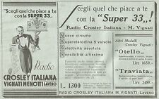Y2074 Radio Crosley Italiana Super 33 - Pubblicità del 1933 - Old advertising