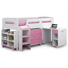 Julian Bowen Kimbo Pink Cabin Bed with Pull Out Desk KIM001