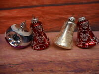 Vintage Christmas Ornaments 3 Bells 1 Indented Glitter Shiny Tree