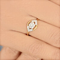0.25Ct Diamond Cocktail Ring Designer Solid Pave 14K Yellow Gold Wedding Jewelry