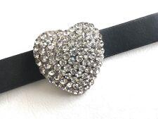 Black Leather Bracelet Heart Rhinestones Biker Bling