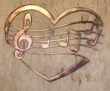 Music Notes in Heart Copper Patina Finish Metal Wall Art Hanging