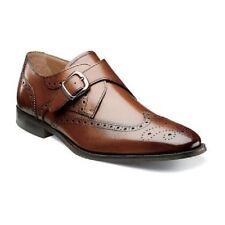 Florsheim Men's Sabato Wing Tip Monk Strap 12 D Cognac Leather