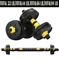 Total 88 LB Weight Dumbbell Set Adjustable Cap Gym Barbell Plates Body Workout|