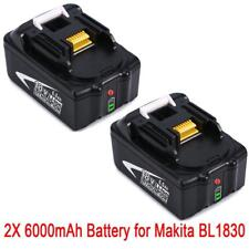 2X 18V 6.0AH Battery For Makita BL1860 BL1850 BL1840 BL1830 with Led Indicator