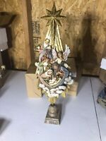 "Nativity Scene Christmas Tree 19"" Tall Spiritual Ceramic Figurine Christianity"