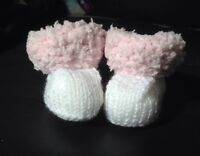 White And Pink Fluffy Baby Girl hand knit snuggle Boots / bootees 0 to 3 months