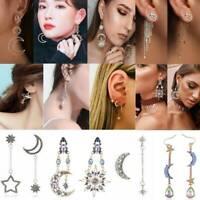 Boho Asymmetrical Star Sun Moon Leaf Drop Dangle Ear Stud Women Earrings Jewelry