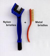 2 Pcs Motorcycle Bike Chain Gear Rust Cleaning Metal Brush Oil Dirt Tools Kit