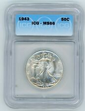 1943 WALKING LIBERTY 50C ICG MS66