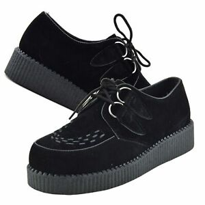 Mens Casual Creepers Shoes Brothel Lace Up Suede Leather Chunky Sole Boots Black