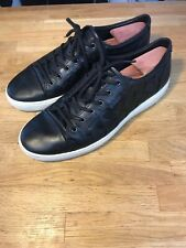 $170 ECCO MEN'S SIZE 45 SOFT US 11.5 Wocen BREATHABLE BLACK LEATHER SNEAKER SHOE