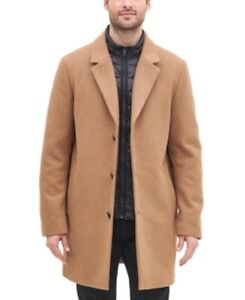 DKNY Men's Top Coat With Removable Quilted Bib, Camel Brown, Small S