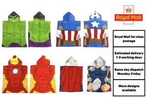 Official Marvel Character Hooded Poncho Towel Children's Kids 2 3 4 5 6 Years