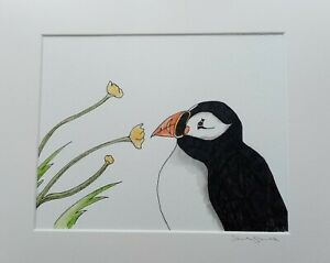 Puffin And Buttercups Original Artwork In Ink By Sarah Jane Holt