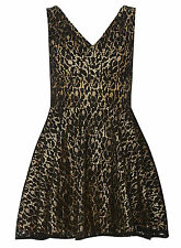 Lace Party Mini Sleveless VNeck Skater Occassion Dress 16 Black/Gold