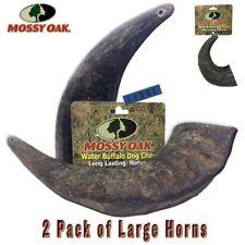 Mossy Oak 2 Pack Large Long Lasting 100% Natural Water Buffalo Horn Dog Chews