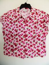 Bebe Moda Women's Size Large Floral Button Down Blouse Career Casual