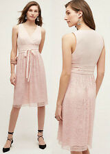 ANTHROPOLOGIE Leifsdottir NWT Pink Lemonade Midi Dress Blush Lace Sz 6 S $178
