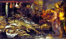Art Mural Ceramic Backsplahs Market Seafood Tile #249