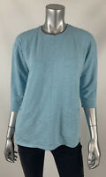 Pure Jill Womens Knit Top M Petite Light Blue Pullover Crew Neck 3/4 Sleeve