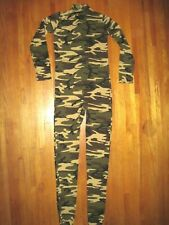 No hood&hand t-Neck Green Camouflage Footed Spandex Zentai Catsuit Size Adult XL