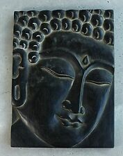 Buddha Face Plaque Wood Hand Carved Buddhist