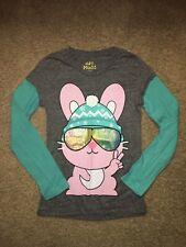 Girl's Mudd Snow Bunny knit long sleeve school top shirt  L 14 gray graphic cool