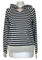ARMANI JEANS GRAY STRIPED HOODED SWEATSHIRT, S-M, $355