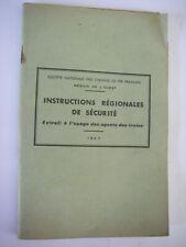1956 ancien manuel sncf instructions régionales de sécurité / agents des trains