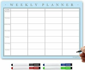 Magnetic Weekly Planners, Dry Erase Fridge Whiteboard Dry Wipe Calendar Board