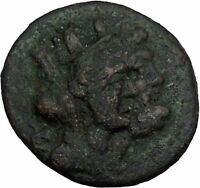 SIDON in PHOENICIA 77BC Tyche Zeus Ship Galley Ancient Greek Coin i44156
